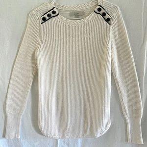 LOFT cream crew Knit sweater size small